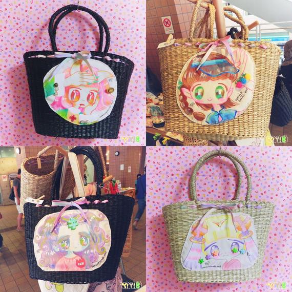 手描きイラストのかごバッグ 4種