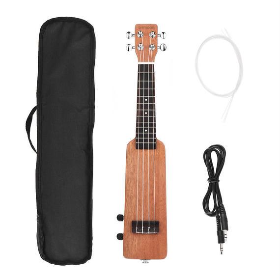 電気ウクレレ 電子楽器 本体 弦 ケーブル セット 4弦 21インチ ソプラノ 木製 木製 ウッド エクストラ 特殊
