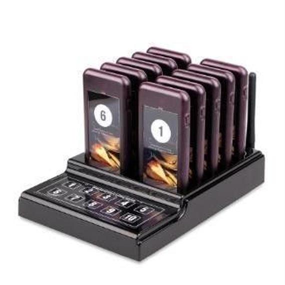無線呼び出しシステム ポケベル10個 呼び出しブザー レストラン カフェ ケータリング機器 Tivdio キーパッドトランスミッター