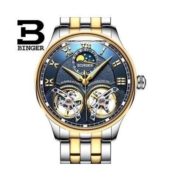ファッション デュアル トゥールビヨン風 腕時計 スケルトン サファイア クリスタル BLUE&GOLD