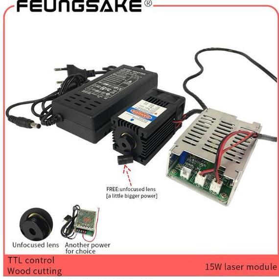 ハイパワーダイオードレーザー15W / 15000mW ブルーレーザーモジュール450nm レーザーカッター彫刻機用TTLドライバーcnc