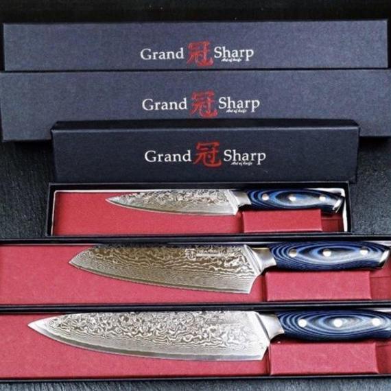 Grandsharp 3ピースダマスカスナイフセット67層日本ダマスカス鋼vg10シェフ三徳ユーティリティ包丁プロツール