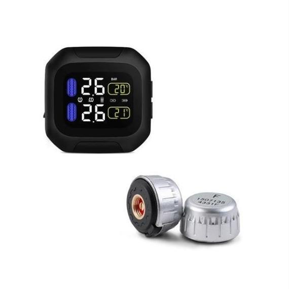 バイク用 防水ワイヤレスタイヤ空気圧監視システム TPMS エアゲージ 2輪用 USBケーブル付属 ハーレー カワサキ ホンダ