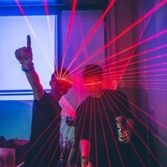 パーティーDJ マスク クイック点滅無線レーザーメガネ 発光照明 光るおもちゃ ダンス DJ