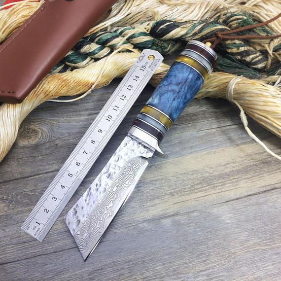 新EDCツール ダマスカス フォージ 手作りのナイフ ユーティリティ 狩猟 ナイフ アウトドア キャンプ ストレートナイフ