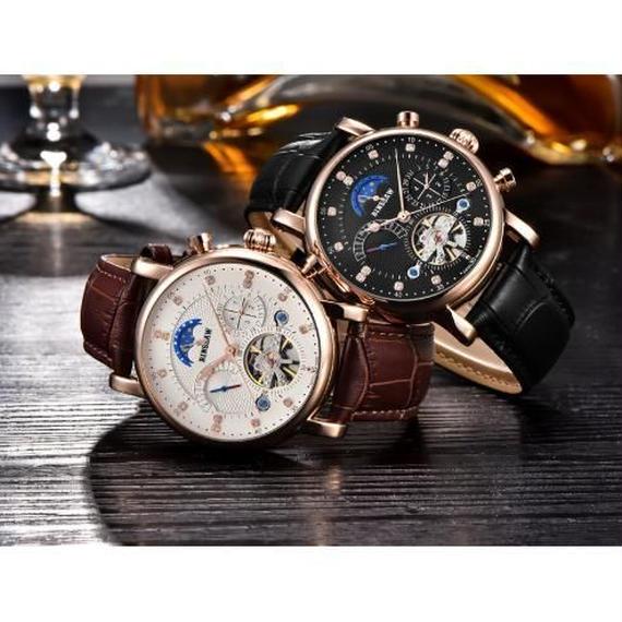 Binssaw トゥールビヨン 海外高級ハイファッションブランド 本革 多機能 腕時計 大人 日本未発売モデル 希少 オートマティック