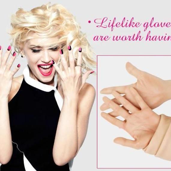 リアルなシリコーン手袋 人工 ハイレベル 女性 人工皮膚 リアルな偽手 コスプレ 女装 クロスドレッサーに