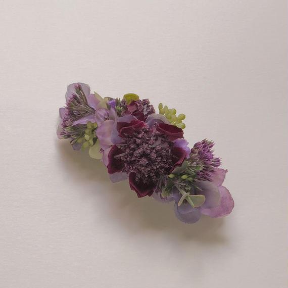 ボタニカルヘアバレッタ(purple)