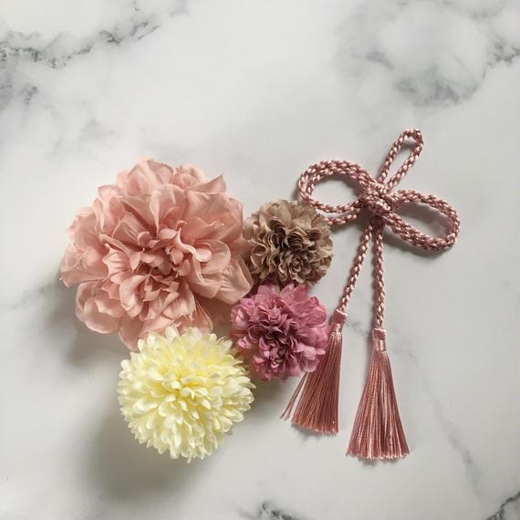 和装 髪飾り ピンク タッセル セット C