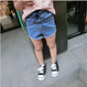kids★lace-up denim short pants