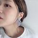 """""""竜の眠る海 −鱗−"""" アクアマリン/モス(薄紫)/片耳/チタンピアス"""