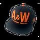 A&W文字フラットキャップ:ブラック