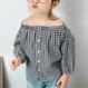 【kids】チェックオフショルシャツ