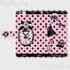 【TC007】手帳型スマホケース:カメリアおリボン枠 お帽子COCOちゃん ピンク×黒ドット
