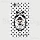 【HD004】ハードケース:カメリアおリボン枠 お帽子COCOちゃん 白×黒ドット
