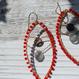 染珊瑚とスモーキークォーツ、グレームーンストーンのマーキス型ピアス(大)