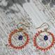 染珊瑚とアイオライトのフープピアス