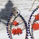 ラピスラズリとサルジ珊瑚のマーキス型ピアス(大)