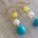 3色マルチピアス(イエローメノウ、白蝶貝、ビーズ)