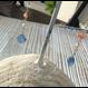 染カルセドニー(ブルー)と深海珊瑚のピアス