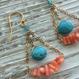 深海珊瑚とターコイズのシャンデリアピアス
