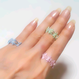 天然石のフラワーリング ローズクォーツ&水晶