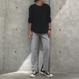 大人カジュアル!カットワッフルクルーネックロンT(3color)【クリックポスト対象商品】