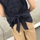 麻混バックリボンノースリーブブラウス(2color)【クリックポスト対象商品】