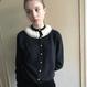 1950s Black Cardigan with Mink Fur collar
