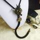 二つの時計と巻きネジのループタイ/スチームパンク