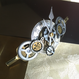 160716 シルバー基調の両端の巻ネジがアクセントのバレッタASno.18/スチームパンク