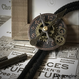 NEW/アンティークブロンズ基調の文字盤とミニ歯車のループタイ/スチームパンク