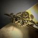 160229 歯車と小枝・花の真鍮のヘアクリップno.02