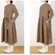 US190OP074 リネン ウエストギャザーシャツドレス