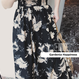 花柄ブラックバックコンシャスマキシ丈ワンピース S-M