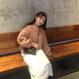 【在庫あり】韓国ピンクパフスリーブモヘアパールボタンカーディガン 93