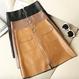 フロントジッパー台形ミニスカート S-XL 5Color