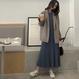 シンプルミモレ丈ニットプリーツAラインワンピースS-L 2色 93