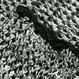 肩空きフリル オーバーサイズ 透編みロングスリーブニット
