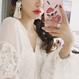 刺繍のバラ&ハイビスカス iphoneケース