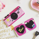 POPオシャレPINK カメラスマイル&サングラスDesign iphoneケース