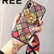【在庫あり】カラフルブロックエスニック柄グリップ付iphoneケース