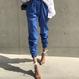 【在庫あり】韓国ブルーコットンブレンドイージーパンツ