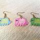 ハンドメイド刺繍 象さんピアス