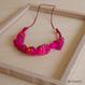 ハンドメイド刺繍ネックレス(ピンク)