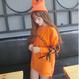 リボンスリーブロングTシャツ オレンジ