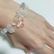 キラキラカットの水晶8ミリ玉×氷柱カット クリスタル×スワロフスキークリスタルの ブルーメダイ付き アイスブレスレット