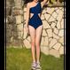 swim-02215  ワンショルダー カットアウト ワンピース 水着 レディース カップ付き ネイビー