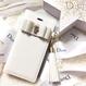 各種iPhone タッセル付手帳型ケース×ビジューリボン ホワイト