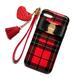 各種iPhone レッドチェック×レザー風バックルリボン ソフトケース